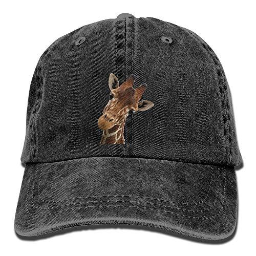 Xdevrbk Unisex Adult Giraffe Face Dyed Washed Cotton Denim Baseball Cap Hat Multicolor72