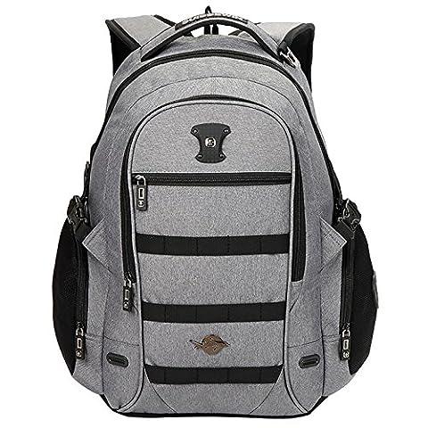 WOLTU® RS8300gr-a , Swisswin Rucksack Laptop 15 zoll Daypack Backpack Herren Damen Schule Kinder Freizeit Wandern Reisen 17 zoll Laptoprucksack Sportrucksack Kinderrucksack Schulrucksack Grau
