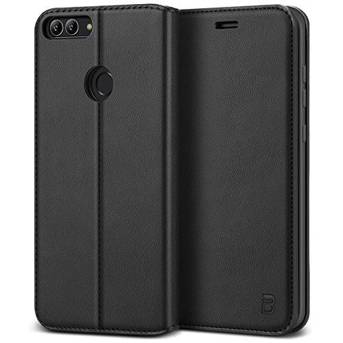 BEZ Hülle für Huawei P Smart Hülle, Handy Hülle Kompatibel für Huawei P Smart Tasche, Handyhülle Case Schutzhüllen aus Klappetui mit Kreditkartenhaltern, Ständer, Magnetverschluss, Schwarz