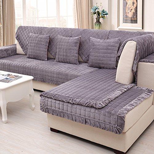 Semplice breve peluche moderni divani in inverno sciarpa/ flanella imbottita antiscivolo cuscino/ telo di copertura divano-B 90x180cm(35x71inch)