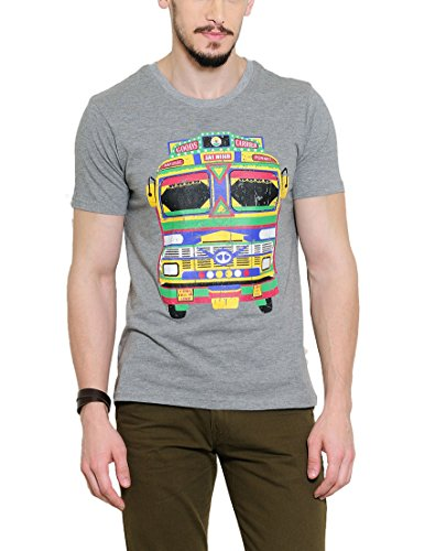 Yepme Men's Grey Graphic T-shirt -YPMTEES0259_S  available at amazon for Rs.179