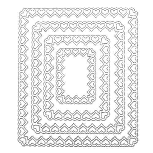 Occitop 4 Stanzformen aus Metall für DIY Scrapbooking Fotoalbum Prägung, Rectangular Love, 120.00 * 120.00 * 1.00mm