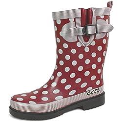 Botas de goma Ocean, de la marca MADSea. Para mujer. Color rojo oscuro con puntos, color Rojo, talla 42 EU