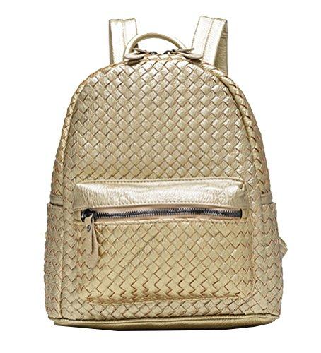 7ef9151a233f9 Yan Show Damen Hand Gewebte Leder Handtaschen Rucksack Große Kapazitäts  Vielzwecktasche  Marineblau Gold