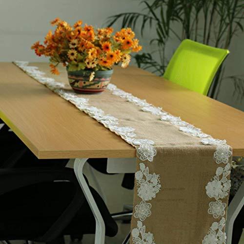 LXD Haushalt Tisch Ribbon Decor Sackleinen hessische Spitze Seite Hochzeit Tischläufer (Sackleinen Spitze Ribbon Mit)