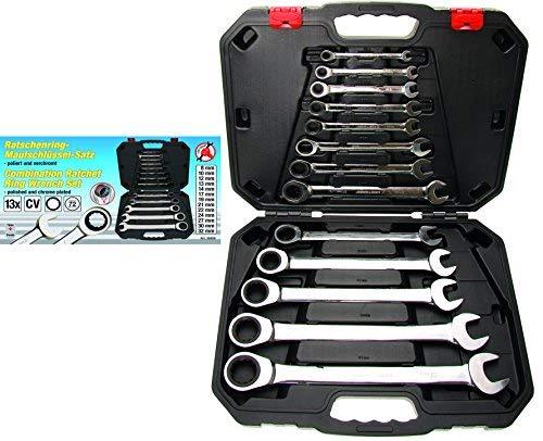 Kraftmann 30006   Jeu de clés mixtes à cliquet   8 - 32 mm   13 pièces
