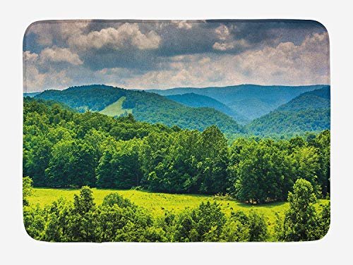 MSGDF Landscape Bath Mat, View of Mountains in Potomac Highlands of West Virginia Rural Scenery Picture, Plush Bathroom Decor Mat with Non Slip Backing, 23.6 W X 15.7 W Inches, Forest Green -