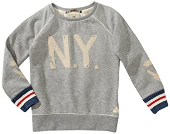 Scotch & Soda Shrunk Jungen Sweatshirt 13440740513 Crewneck Sweat with Patches,104 (4), Grau (930-Cement Melange)
