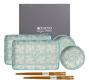 Tokyo Design Studio Bohemian Printemps Sushi Set komplett - 6-teilig - für 2 Personen - 2 Sushiteller und 2 Dipschälchen aus hochwertigem Porzellan inklusiv 2 Paar.Essstäbchen aus Bambus - Spülmaschinenfest und mikrowellengeeignet - in schöner Geschenkbox