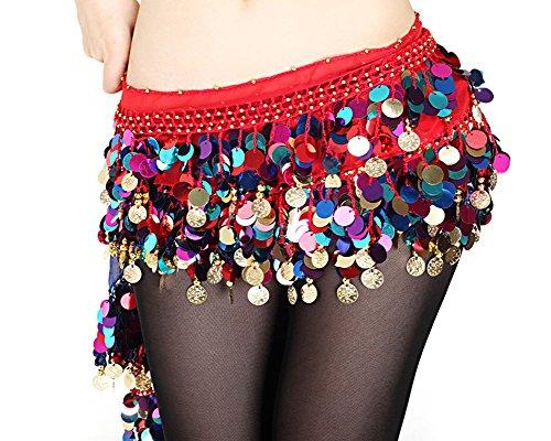 B & Y Fashion colori monete del ventre in chiffon gonna danza del ventre hip sciarpa cintura Wrap, Red