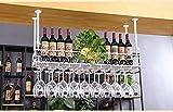 Le plafond en métal a monté le support de vin suspendu de Stemware de vin Barre de vin Support de bouteille de vin en verre Porte-bouteilles suspendu (Color : White, Size : 120 * 25CM)