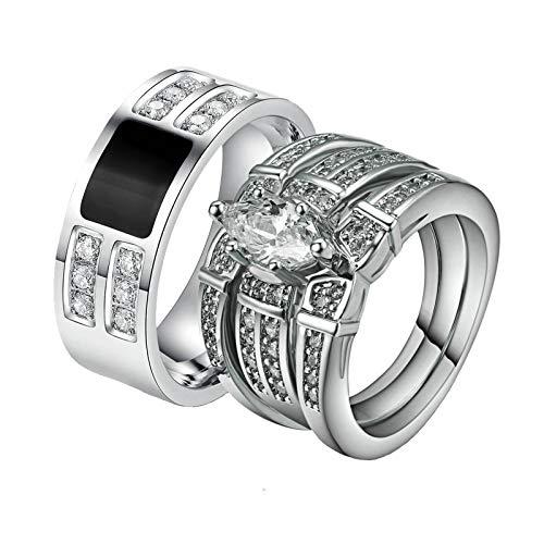 Aooaz 8MM Anillo De Acero Anillo De Plata con Circonitas Apilables Anillos para Matrimonio Mujeres 15 & Hombre 20 Silver
