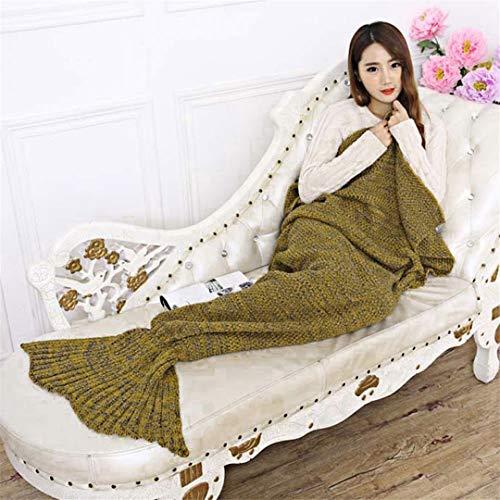 BFHLRDE 7 Farben Garn Gestrickte Mermaid Tail Decke Super Soft Schlaf Bett Handgemachte Häkeln Anti-Pilling Tragbare Decke Yellow