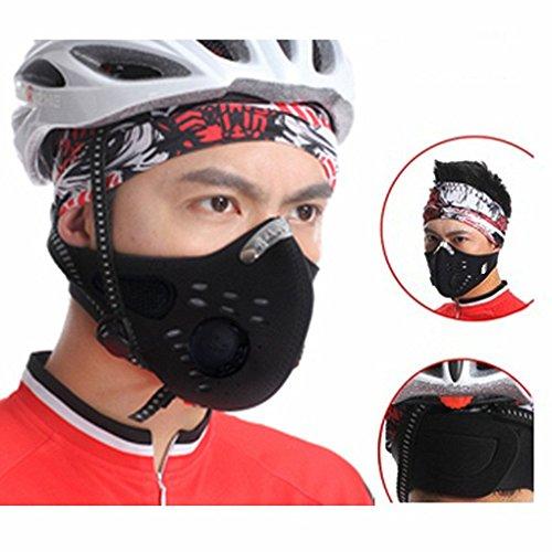 FakeFace máscara Exterior de carbón Activo Super cálido Máscara Sport Boca Visage Antipolvo Anti-contaminación–Paraviento para Ciclismo Moto Bicicleta Otros Actividades de Plein Air, Negro
