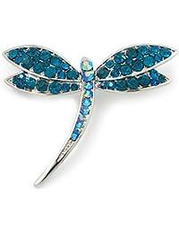 """Broche clásico Libélula"""" con cristales Swarovski verde azulado en platinado de rodio"""