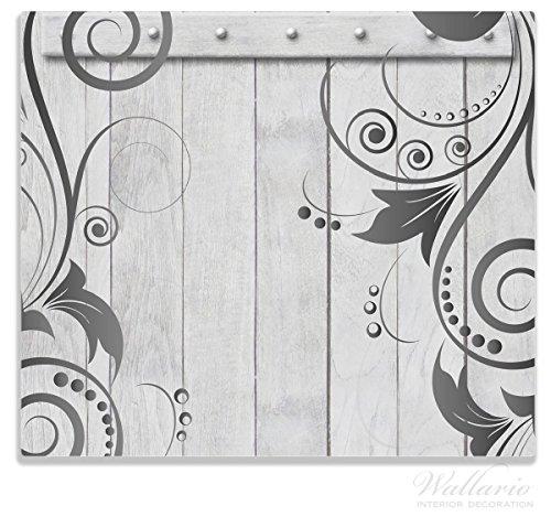 Wallario Herdabdeckplatte / Spitzschutz aus Glas, 1-teilig, 60x52cm, für Ceran- und Induktionsherde, Graue Holztür mit Schnörkelmuster