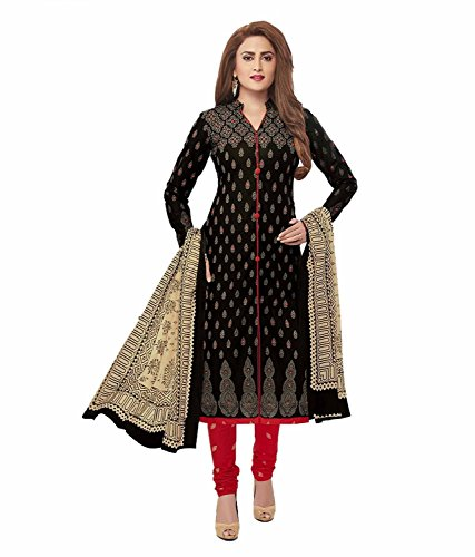 Crazy Women's Cotton Unstitched Salwar Kameez Dress Material (Black) 51xAhSdKDdL