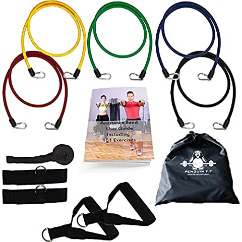 12pc Fitness Resistance Band set for Women and Men. Free Bonus 101 Exercise book.