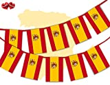 Giant Spanish Full Flag Patriotic Themed Bunting Banner 12 Rectangular flags 210x297mm for guaranteed simply stylish party National Royal decoration by PARTY DECOR