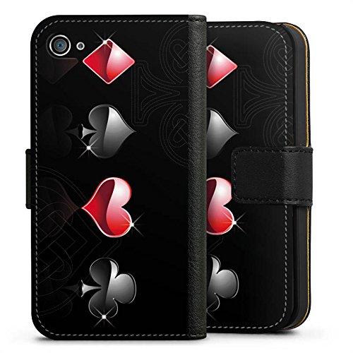 Apple iPhone X Silikon Hülle Case Schutzhülle Herz Kreuz Karo Sideflip Tasche schwarz
