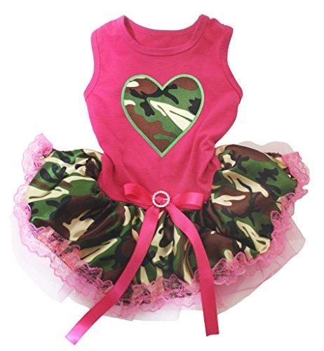 z Hot Pink Baumwolle Shirt Camouflage Spitze Tutu 1Hund Kleid ()
