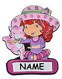 Unbekannt Türschild / Namensschild - Emily Erdbeer mit Namen - Kinderzimmer Schild für Kinder Mädchen Erdbeere Möbel Bett Deko - z.B. auch für Haustiere Hundehütte Schränke