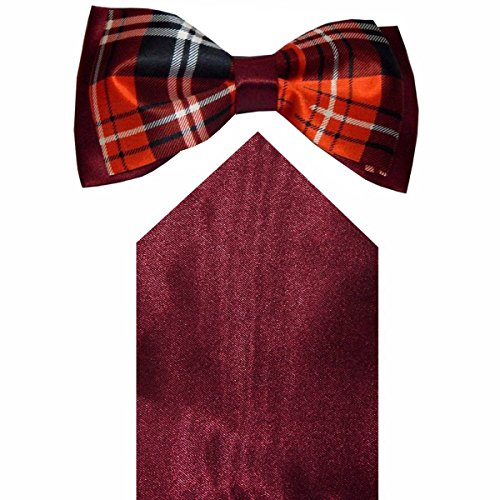 Navaksha Maroon Checks Men's Bow Tie with Pocket Square  available at amazon for Rs.525
