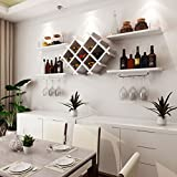 Wine Rack - Wand-Weinregal Wandregal Holz Rhombic Weingitter Restaurant Hung Haushalt Weinregal Felice Home (größe : Weiß)