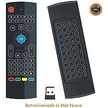 HORIZONTAL Mini Ratón Retroiluminado Teclado Inalámbrico Combinado 2.4G Portátil Multi-media Remoto con Ratón Táctil para Windows, Android / Google / Smart TV, Linux, Windows, Mac, Frambuesa PI (Negro)