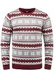 !Solid Winno Herren Weihnachtspullover Norweger-Pullover Winter Strickpullover Grobstrick Pullover mit Rundhalsausschnitt, Größe:S, Farbe:Biking Red (0799)