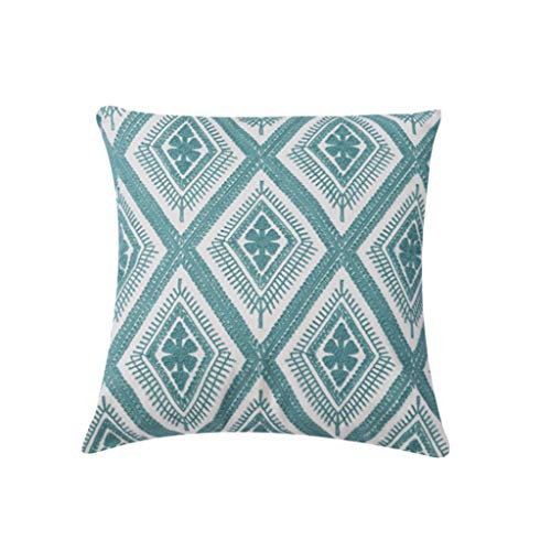 Xmiral Kissenbezüge Pillowcase 45cm x 45cm Handstickerei Blatt Quadratischer Kissenhüllen Versteckter Reißverschluss(C) - Marokkanische Brust