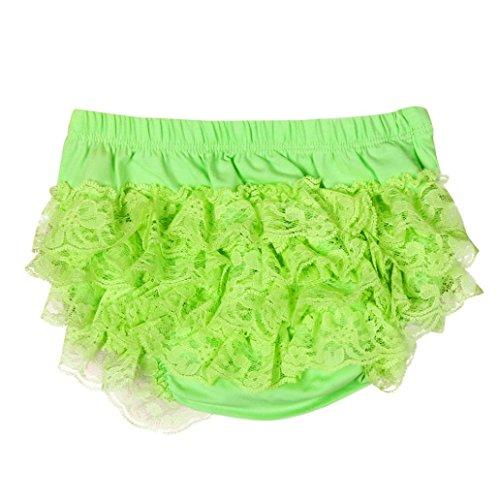 XXYsm Baby Mädchen Schichten Spitzen Trainerhosen Unterwäsche Höschen Solide Lace Kleid Rüsche Hose Pumphose Windel Decken (Grün, 0-6 Monate) (Unterwäsche Lace Höschen)