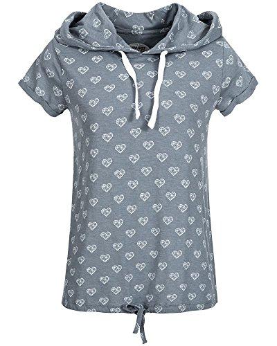 Sublevel Damen Kapuzen-T-Shirt Hearts LSL-273 Alloverprint Middle Blue