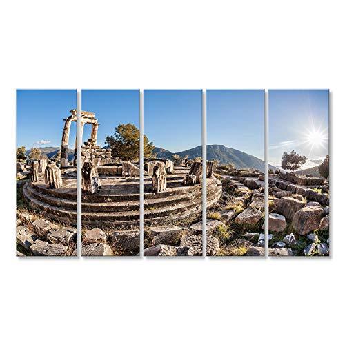 islandburner Cuadro Cuadros Famoso Delphi con ruinas del Templo en Grecia Sobre Lienzo Formato Grande Listo para Colgar estupendo