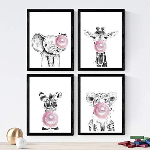 Nacnic Set 4 láminas Animales Infantiles Chicle Rosa,en
