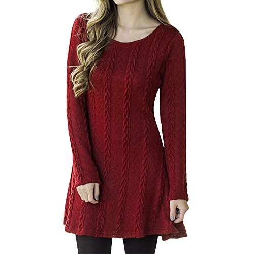 Womens Knitwear Winter Autumn Long Sleeve Jumper Knitted Sweater Pullover Mini Dress Tops Red