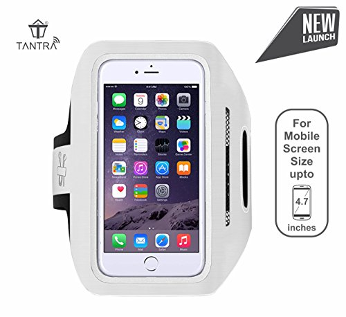 Tantra Enhandz Arm Band Adjustable Sports Anti-slip Ultra Light Weight Armband Mobile Holder upto 4.7 inches like iphone 4,5,6 & 6s) (White,M Size)