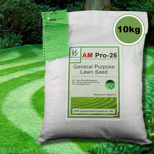10kg Top Quality Lawn Grass Seed A1LAWN AM Pro-26 General Purpose (Covers 285 sq metre) DEFRA