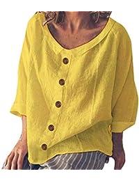 ff6e199e09b Watopi Femmes Chemise Grande Taille Manches Longues Bouton O-Neck Lin  Tunique Tops T Shirt
