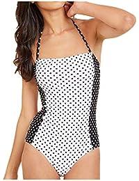 POachers Femme rembourré Sexy 1 Piece Maillots de Bain Impression à Pois  Amincissant Triangle Réglable Taille 959e335e8c6