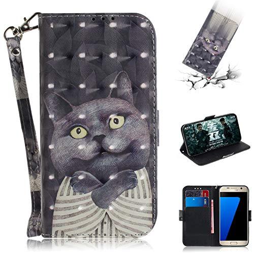 axy S7 Hülle, Flip PU Leder Tasche mit Intern Karte Schlitz, Magnetic Closure mit Standfunktion und Handy Gürtel Schutzhülle für Samsung Galaxy S7 - Dr. Katze ()