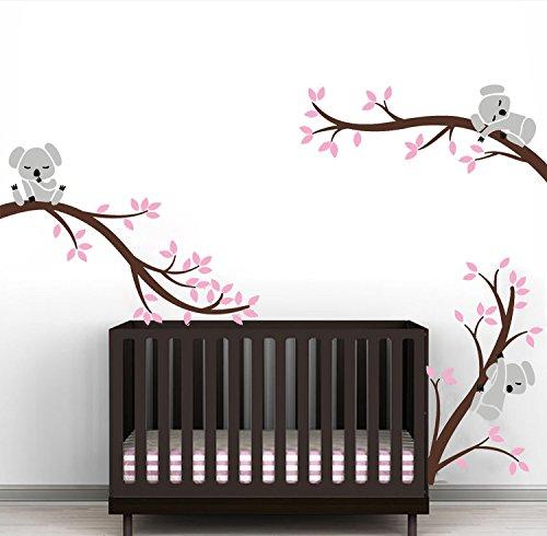 Sayala Koala Baum Wandtattoo-3 Lovely Koala on The Tree Wandaufkleber Wandsticker- Babyzimmer Tierwelt Baby Wandaufkleber Kleinkind Sticker Mädchenzimmer Wanddekor (Pink)