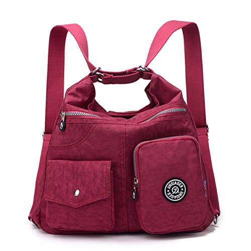 Outreo Kuriertasche Damen Schultertasche Umhängetasche Handtasche Designer Strandtasche Wasserdichte Messenger Bag Rucksäcke Sporttasche Taschen für Mädchen Reisetasche Nylon Rot