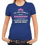 Geschenk Zum Geburtstag Jubiläums Abschied Damen Frauen T-Shirt Rundhals Leg Dich Niemals mit Einer Erzieherin an, Größe: XXL,Royal Blau