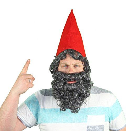 Zwergenmütze Mütze Zwerg Zwerge mit Bart Rot Kostüm (Kostüme Bärte)