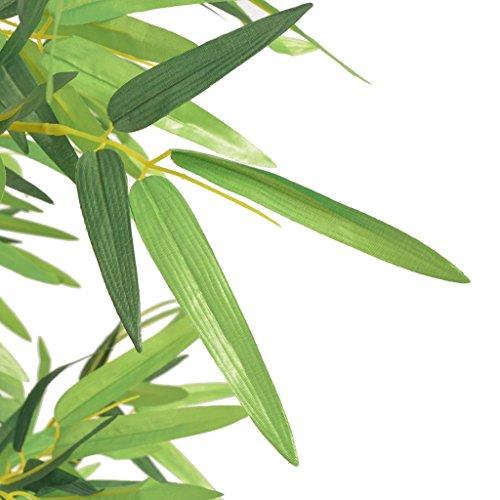 Festnight Kunstpflanze Kunstbaum Kunstbambus Bambuspflanze mit Topf 120 cm Grün