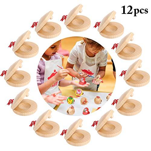 Joyibay Kinder Finger Kastagnetten, DIY Kastagnetten Holz Musikinstrument Rhythmus Musik Percussion Instrument Musical Instruments Set für Kinder, Musik Kinderspielzeug Geschenke (12 STÜCKE)