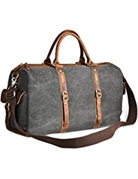 Luxur 40L Duffle Bag Canvas Travel Tote Shoulder Carry On Weekend Bag For Trip