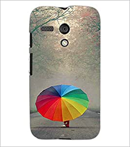 PrintDhaba Rainbow Umbrella D-2717 Back Case Cover for MOTOROLA MOTO G (Multi-Coloured)