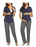 MAXMODA Stillnachthemd Umstandspyjama Stillpyjama Stillschlafanzug Schwangerschaft Nachtwäsche Stillen Umstandsmode Nachtwaesche Schlafanzüge Stillfunktion für Damen